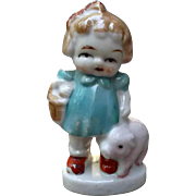 Bisque Doll Figurine Girl with Basket and Pet Pig Vintage Japan