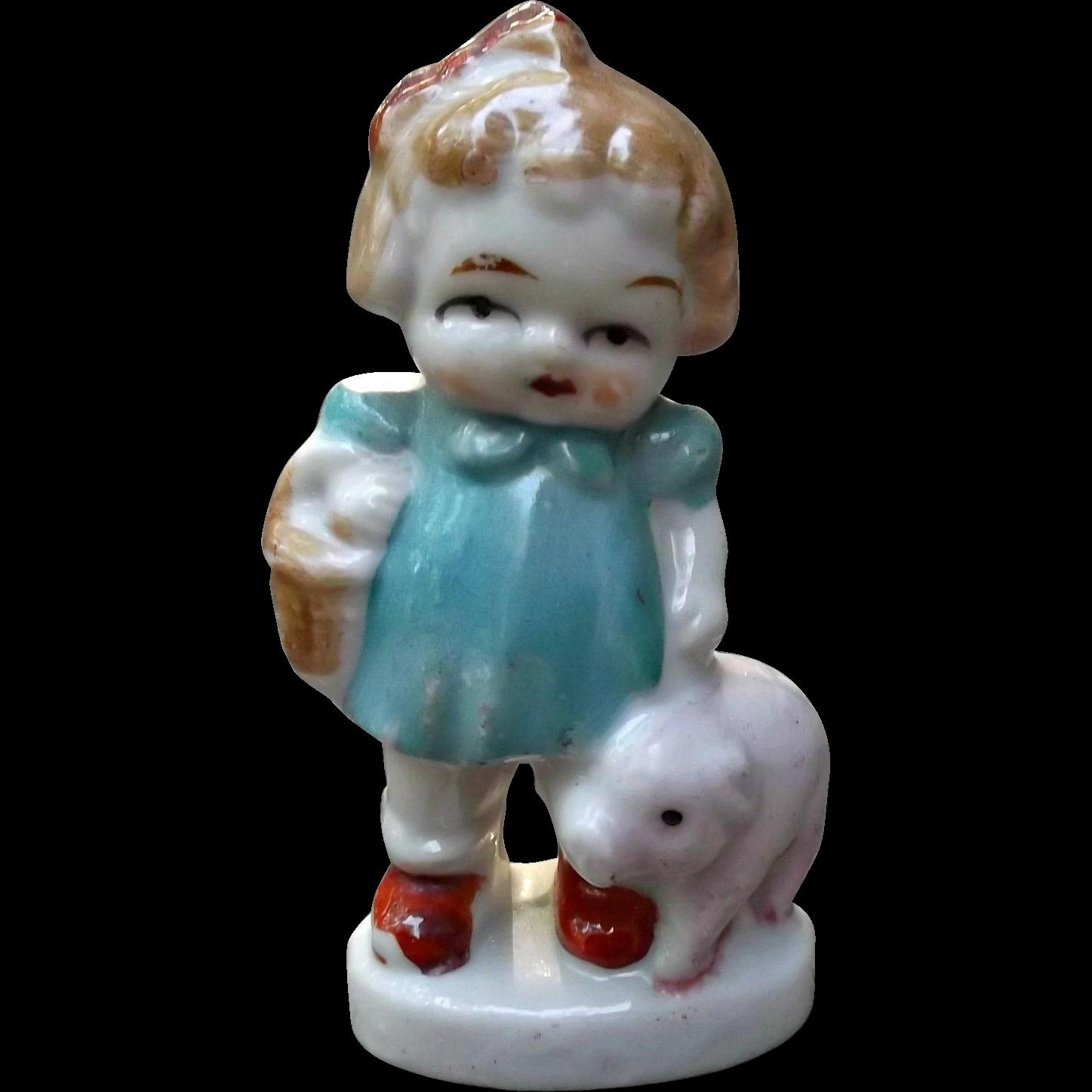 Vintage Bisque Doll Figurine Girl with Basket and Pet Pig Japan