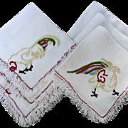 Vintage Linen Napkins Set of Six Chickens Hand Embroidered Fringe