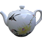 Vintage Asian Teapot Yellow Chrysanthemum Black Raven Crow Bird Berries