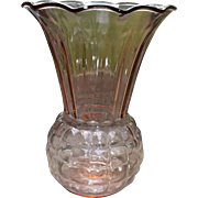 Anchor Hocking Pink Glass Pineapple Vase Vintage Home-Decor