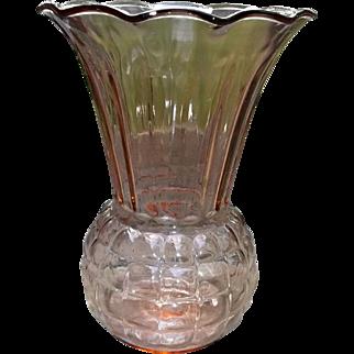 Anchor Hocking Pink Glass Pineapple Vase Vintage Home-Decor