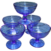 Hazel Atlas Glass Cobalt Blue Moderntone Sherbets Set of Five
