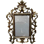 Rococo Style Vintage Cast Metal Frame Gold Wash