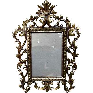Vintage Metal Cast-Iron Gold Wash Picture Frame Rococo Style