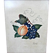 Small Theorem Vintage Painting Stenciling on Velvet Grapes Peach Leaves