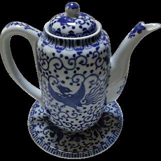 Vintage Blue White Phoenix Bird Flying Turkey Tea Coffee Pot Trivet