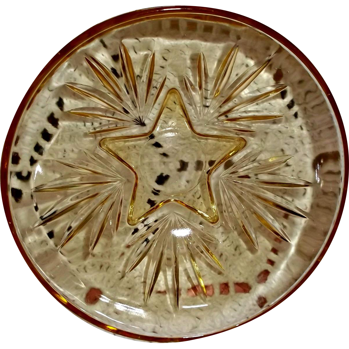 Federal Glass Yellow Star Desert Bowl Circa 1950's to 1960's Vintage