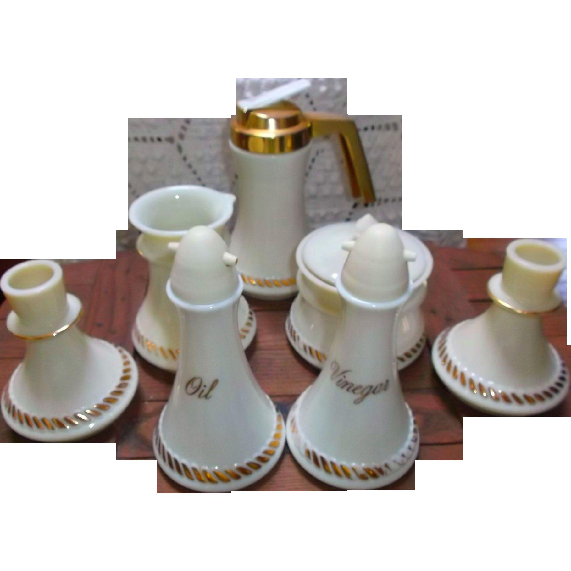 Vintage Wheatonware Custard Glass Circa 1970's Cruets Cream Sugar Syrup