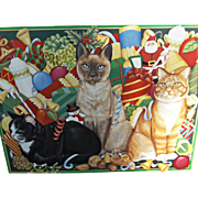 Pimpernel Christmas Cats Vintage Placemats Set of Six Cork Backed