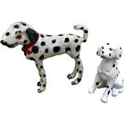 Vintage Germany Flocked Dalmatian Dog and His Bisque Figurine Pal