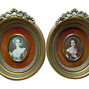 Pair of Cameo Creation Vintage Victorian Ladies Gilt Frames Ribbons Roses