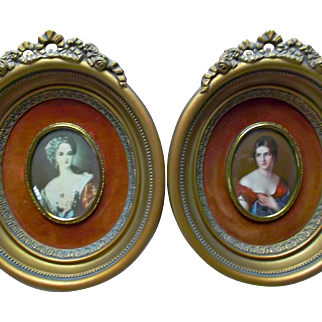 Pair of Vintage Cameo Creation Victorian Ladies Gilt Frames Ribbons Roses