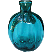Blown Studio Art Glass Vintage Flask Bottle Vase Teal Color Ribbed Signed