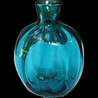 Vintage Blown Studio Art Glass Flask Bottle Vase Teal Color Ribbed Signed