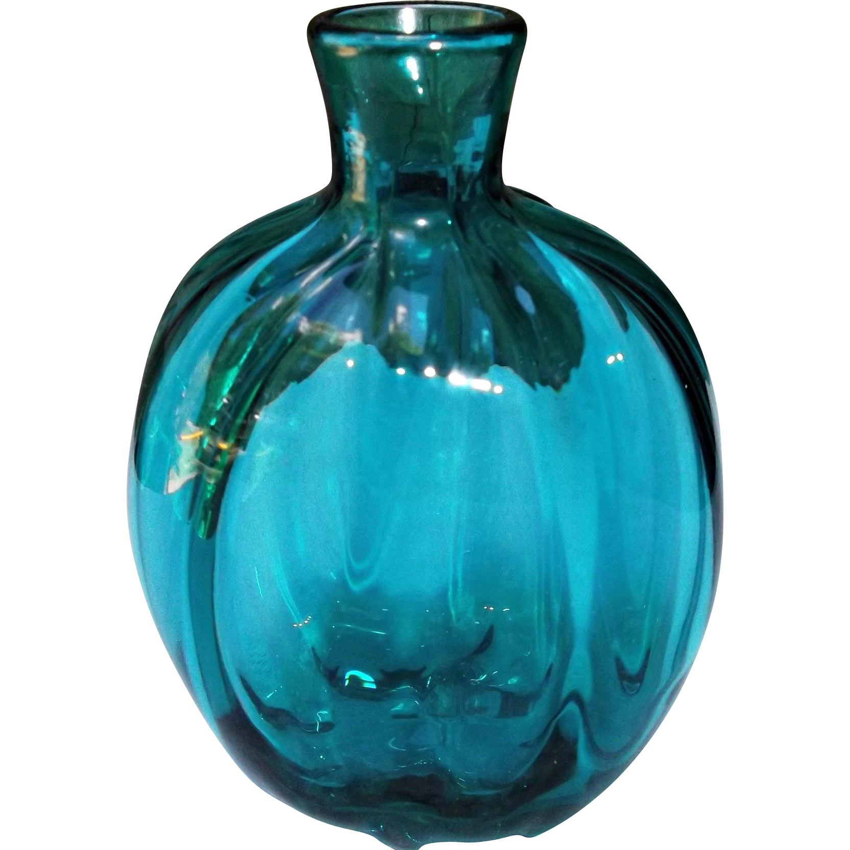 Vintage Blown Studio Art Glass Flask Bottle Vase Teal Color Ribbed Signed