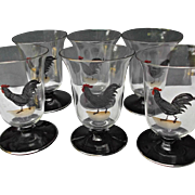 Six Painted Rooster Juice Glasses Tumblers Vintage Country Kitchen Decor