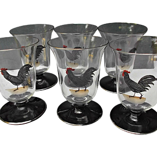 Six Vintage Juice Glasses Tumblers Painted Rooster Country Kitchen Decor