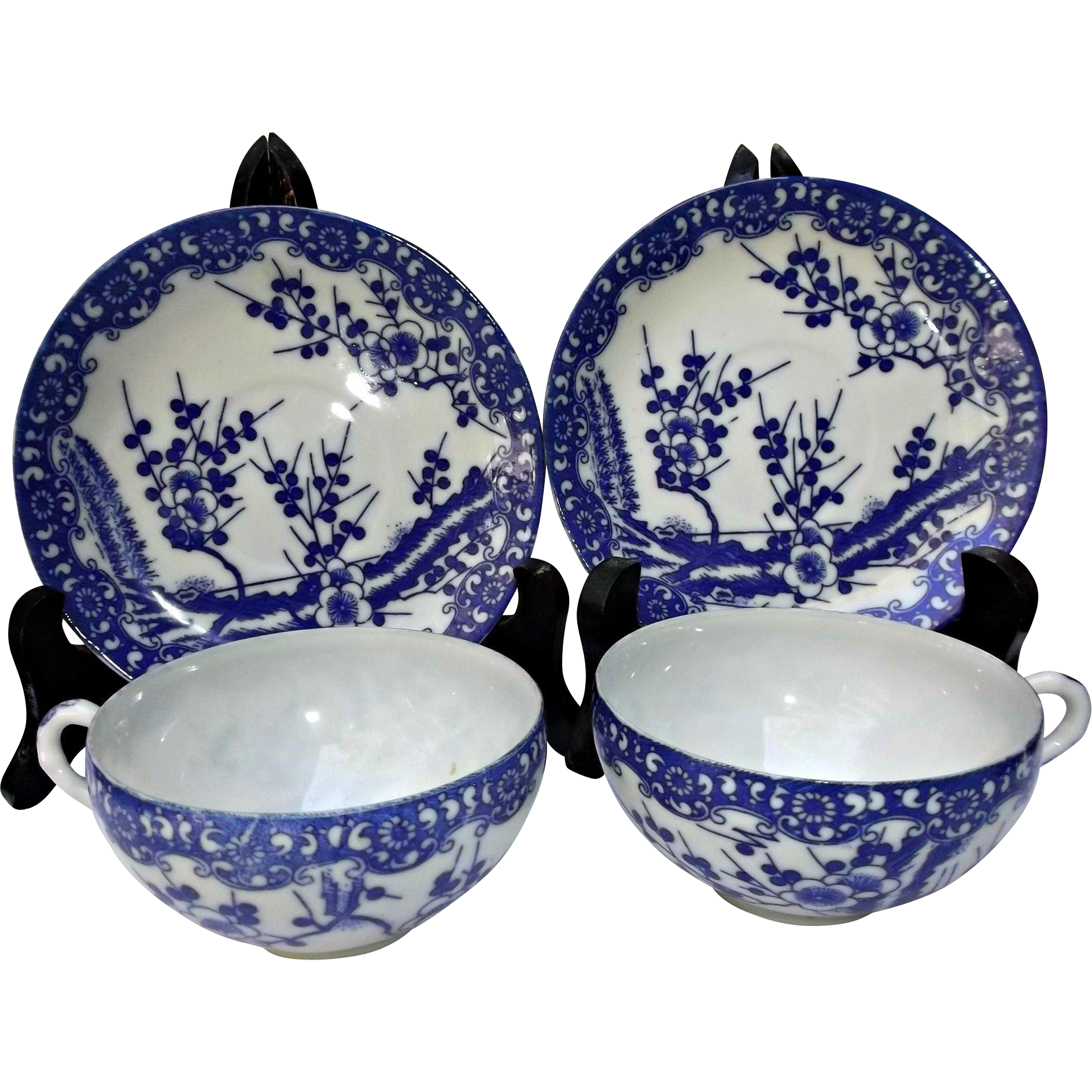 Vintage Asian Cherry Blossoms Cups Saucers Blue White Porcelain