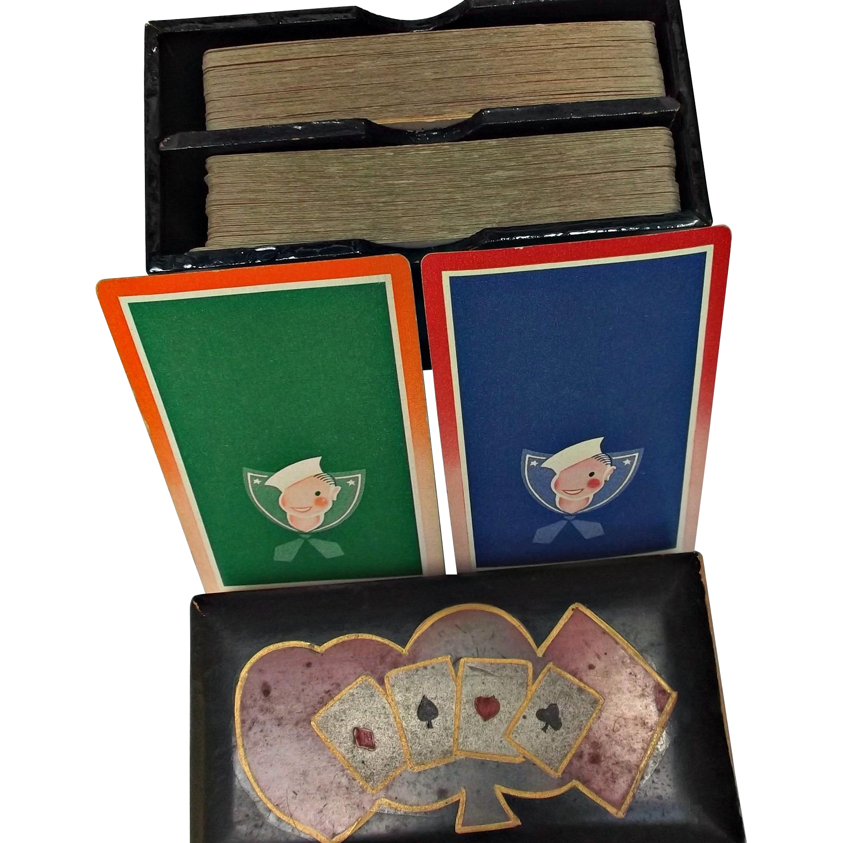 Double Deck of Bridge Playing Cards Sailors in Black Wood Box