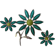 Sarah Coventry Vintage Flower Pin Brooch and Earrings Turquoise