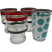 Hazel Atlas Glass Vintage Juice Tumblers Turqouise Dots Rings Stripes