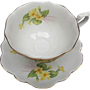 Vintage Shelley Cup and Saucer Fine Bone China England Yellow Primrose