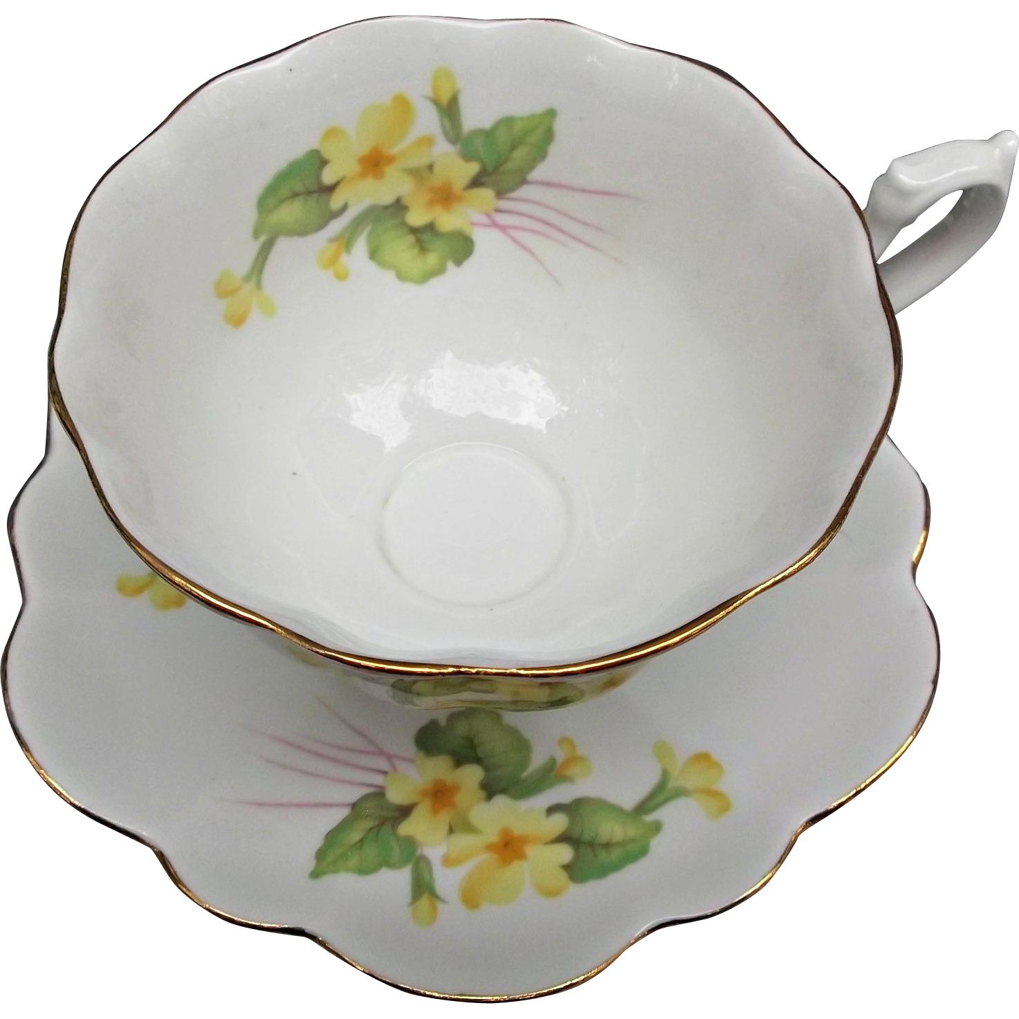 Vintage Shelley Cup and Saucer Fine Bone China England Yellow Flowers