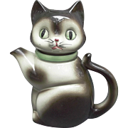 Vintage Ceramic Cat Tea Pot Japan Green Eyes Collar Collectible