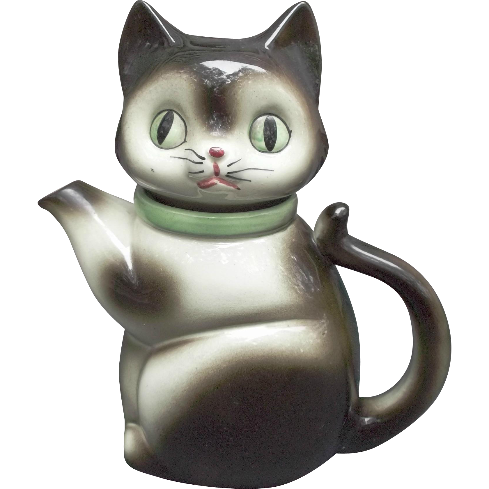 Ceramic Cat Tea Pot Vintage Japan Green Eyes Collar Collectible