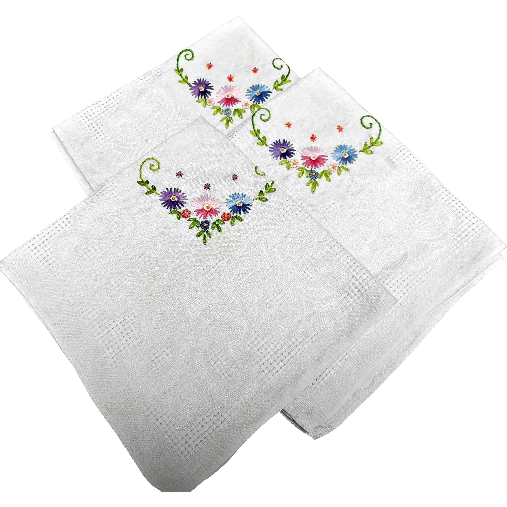 Three Vintage Linen Napkins Hand-embroidered Chrysanthemums Tea Tray Cover