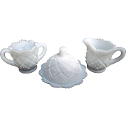 Flattened Diamond and Sunburst Table Set Creamer Sugar Butter Dolls