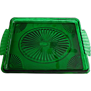 Vintage Emerald Green Glass Vanity Pin Tray Fans Beads