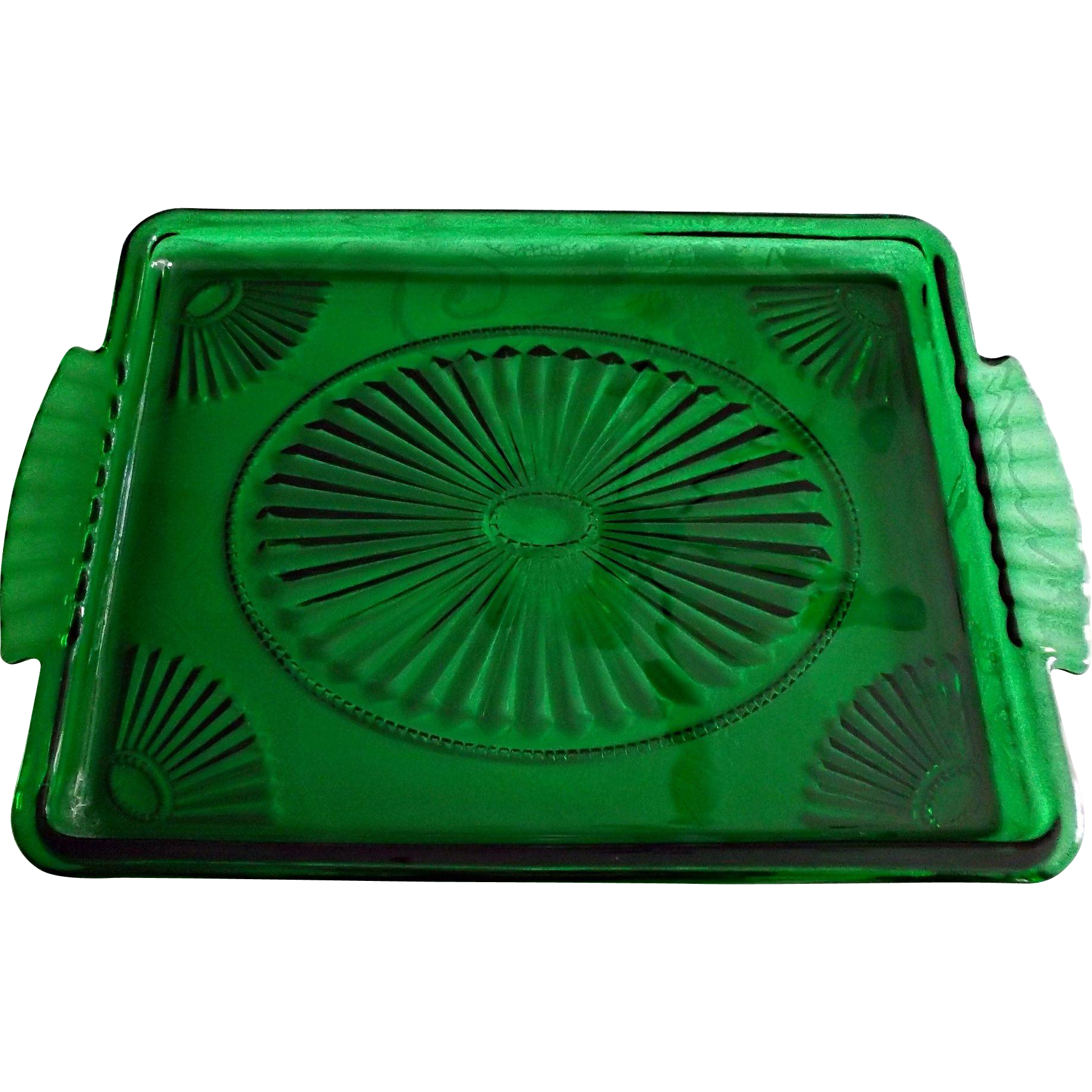 Emerald Green Glass Vanity Perfume Pin Tray Fans Beads Vintage Avon