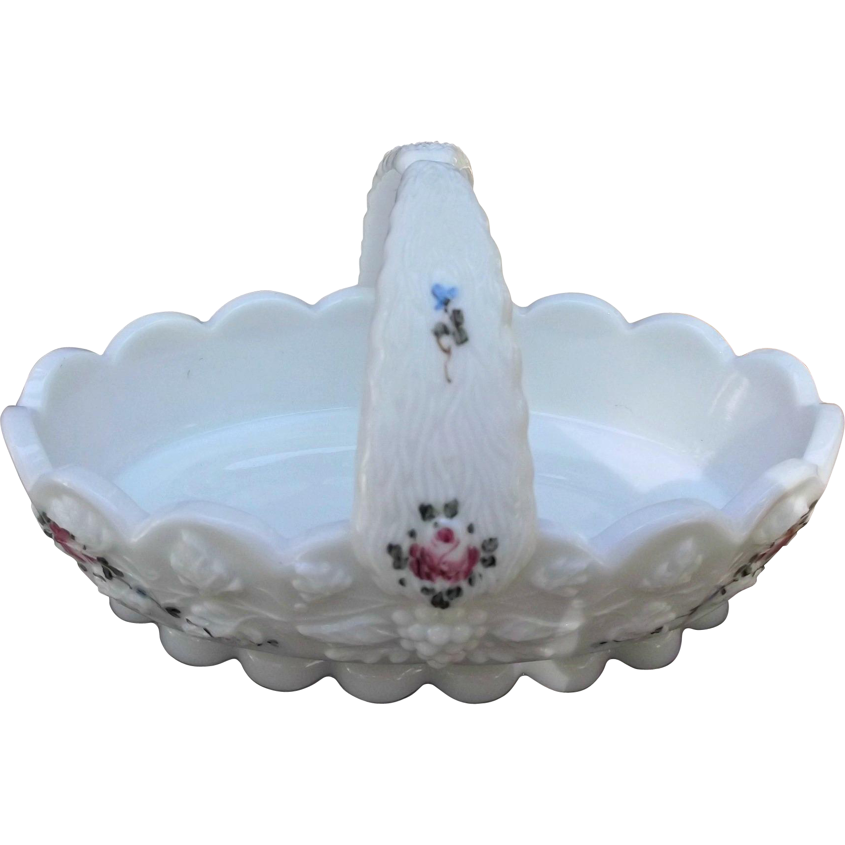 Westmoreland Vintage Milk Glass Hand Painted Roses and Bows Basket
