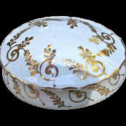 Irice Vintage Hand Painted Powder Box Trinkets Gold Gilt Ferns