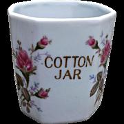Vintage Porcelain Cotton Jar Moss Rose Bath Vanity Home-Decor