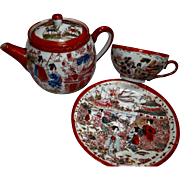 Geisha Girls Porcelain Vintage Tea Pot Cup and Saucer Set