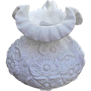 Fenton Milk Glass Poppies Student Lamp Shade Hurricane Gone With the Wind