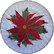 Fire King Vintage Golden Shell Plate Hand Painted Poinsettia Christmas Decor