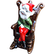 Vintage Pixie Elf Sitting in Rocking Chair Christmas Holiday Decor