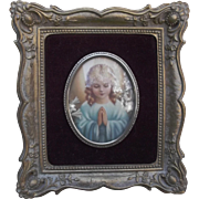 Vintage Ornate Gold Gilt Gesso Frame with Praying Girl Flowers Beads