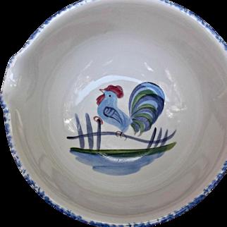 Vintage Los Angeles Pottery Rooster Batter Bowl with Spout Blue Spongeware