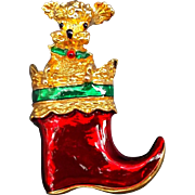 Gerry's Dog in Stocking Vintage Christmas Pin Brooch Red Green Enamel