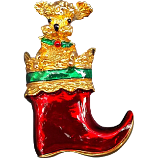 Vintage Gerry's Dog in Stocking Christmas Pin Brooch Red Green Enamel