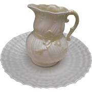 Belleek Ireland Ribbon Creamer with Limpet Shell Saucer Vintage