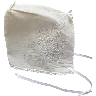 Old Vintage Christening Baby Bonnet Lace Embroidery Dolls Cap
