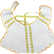 Crocheted Baby Doll Vintage Bib Ecru Yellow Ribbons