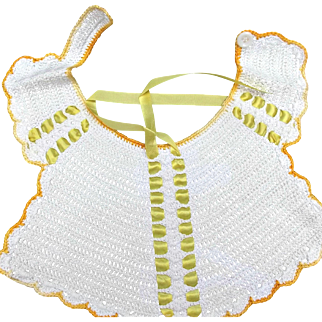 Vintage Crocheted Baby Bib Ecru Yellow Ribbons Dolls