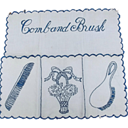 Vintage Embroidered Linen Comb and Brush Holder Ecru Blue